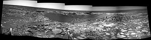 Beagle (crater) - A navcam mosaic looking inside the crater Beagle on Mars. Taken on sol 898.
