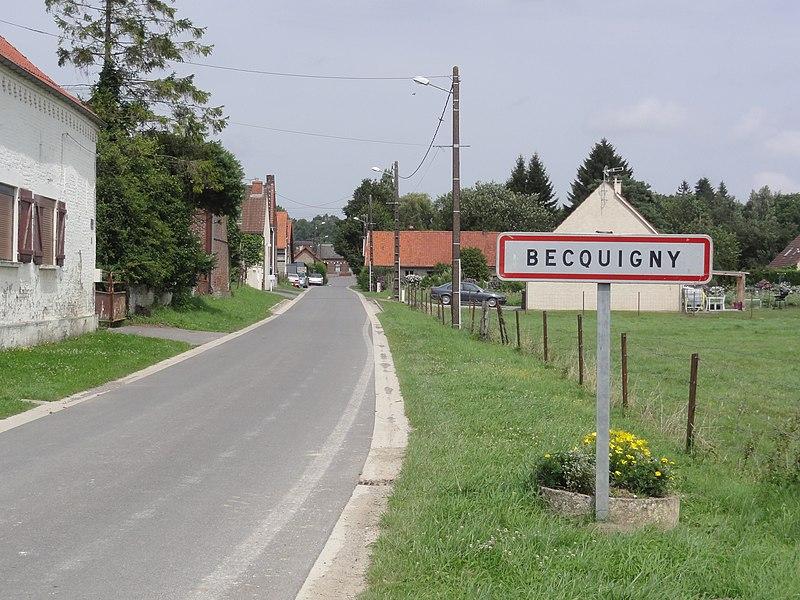 Becquigny (Aisne) city limit sign