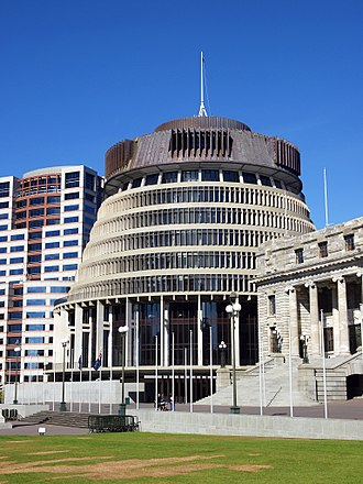 Beehive (New Zealand) - Bowen House (left), the Beehive (centre) and Parliament (right). A very similar view of the latter two buildings features on New Zealand's $20 banknote.