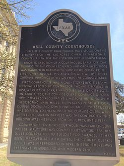 Bell county courthouses texas historical marker