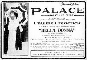Bella Donna (1915 film) - Contemporary newspaper advertisement.