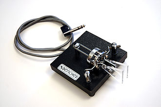 Morse code - A commercially manufactured iambic paddle used in conjunction with an electronic keyer to generate high-speed Morse code, the timing of which is controlled by the electronic keyer. Manipulation of dual-lever paddles is similar to the Vibroplex, but pressing the right paddle generates a series of dahs, and squeezing the paddles produces dit-dah-dit-dah sequence. The actions are reversed for left-handed operators.