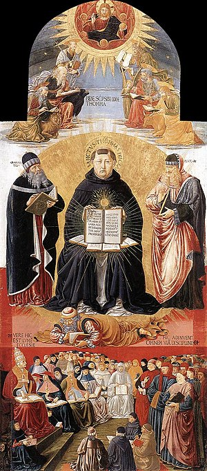 "Thomas Aquinas -  Triumph of St Thomas Aquinas, ""Doctor Communis"", between Plato and Aristotle, Benozzo Gozzoli,1471. Louvre, Paris"