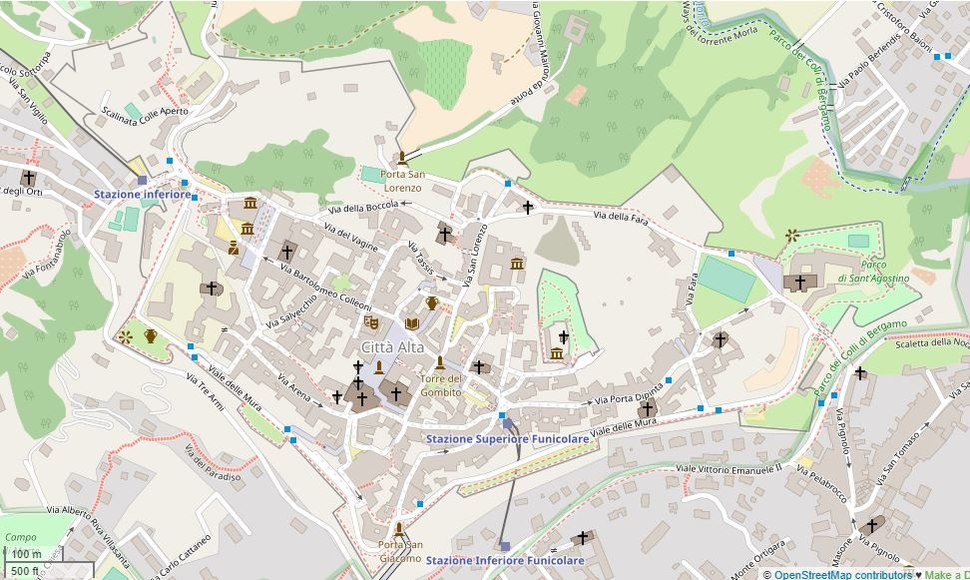 Map of the old walled Upper City of Bergamo