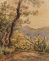 Bernhard Wiegandt, Brasilianische Landschaft mit Agave, Aquarell über Bleistift, 1879.jpg