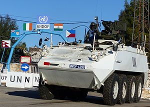 Defence Forces (Ireland) - An Irish Army Cavalry Corps Mowag Piranha Close Reconnaissance Vehicle on UN patrol in Syria