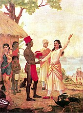 Painting of dark-skinned prince taking Satyavati's hand