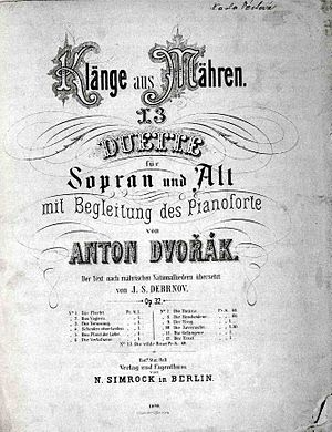 Moravian Duets - The title page of Moravian Duets by Antonín Dvořák, published in 1878 by Fritz Simrock.
