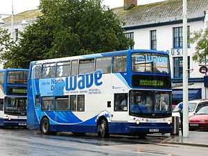 Stagecoach South West - Alexander ALX400 bodied Dennis Trident 2 with North Devon Wave branding (Bideford, August 2011)