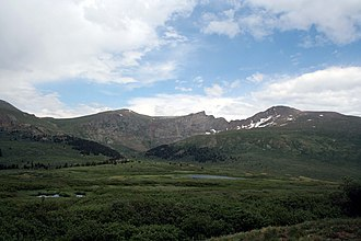 The Sawtooth - Mount Spalding on the left, The Sawtooth, center, and Mount Bierstadt on the right, seen from Guanella Pass, to the northwest