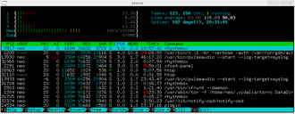 Load (computing) - htop displaying a big computing load (top right: Load average:).