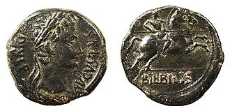 Ancient Iberian coinage - O: Portrait of Augustus right, 'AUGUSTUS DIVI F'.