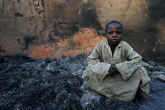Central African Republic Bush War - A boy in the town of Birao in northern CAR which was largely burnt down during fighting in 2007.