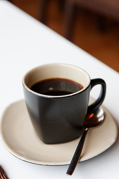 File:Black coffee with saucer and spoon.jpg