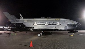 Boeing X-37 - OTV-1 sits on the runway after landing at Vandenberg AFB at the close of its USA-212 mission on 3 December 2010.