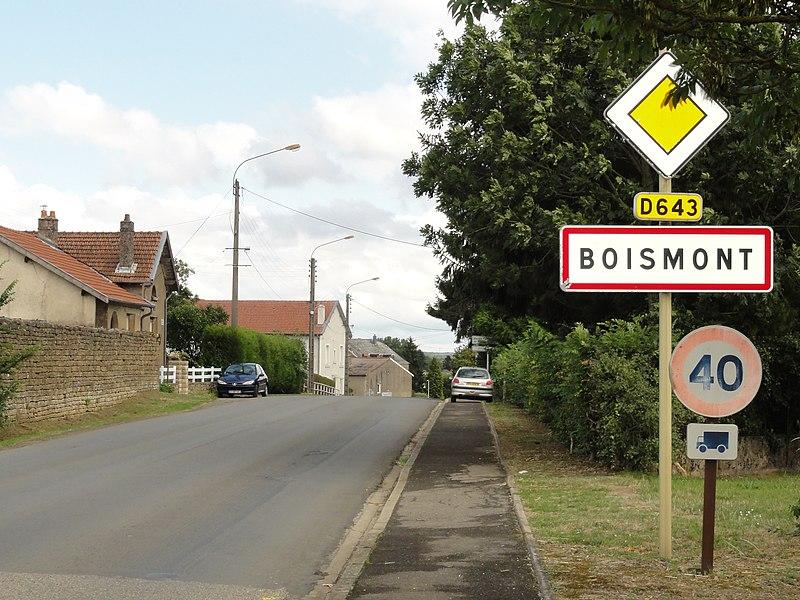 Boismont (Meurthe-et-M.) city limit sign
