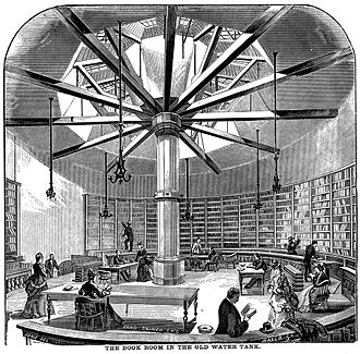 Chicago Public Library - The original library, inside the old water tower on the site that is now the Rookery Building.