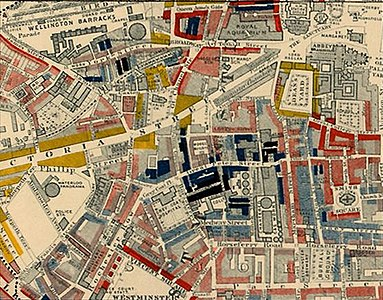 "Part of Charles Booth's poverty map showing Westminster in 1889. The colours of the streets represent the economic class of the residents: Yellow (""Upper-middle and Upper classes, Wealthy""), red (""Lower middle class - Well-to-do middle class""), pink (""Fairly comfortable good ordinary earnings""), blue (""Intermittent or casual earnings""), and black (""lowest class occasional labourers, street sellers, loafers, criminals and semi-criminals""). Booth coloured Victoria Street, with its new shops and flats, yellow. The model dwellings built by the Peabody Trust on the side streets off Victoria Street appear as pink and grey, signalling modest respectability, while the black and blue streets represent the remaining slum areas housing the poorest. Booth map of Westminster.jpg"