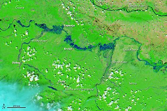 2014 Southeast Europe floods - Severe flooding in the Balkans seen by the Moderate Resolution Imaging Spectroradiometer (MODIS) on NASA's Aqua satellite, 19 May 2014.