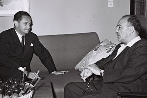 Maurice Bourgès-Maunoury - Maurice Bourgès-Maunoury (L) meeting Israeli Finance Minister Levi Eshkol during a visit to Israel in 1958