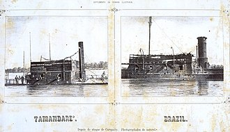 Imperial Brazilian Navy - Damage that could be done to ironclads.  Tamandaré (left) and Brasil (right) damaged after the earlier attack on Curuzú, a fort much less powerful than Curupayty or Humaitá.