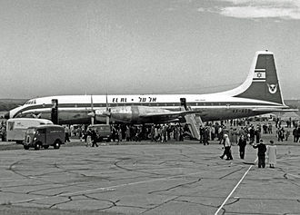 El Al - Bristol Britannia of El Al at Farnborough Airport in 1957 just before delivery to the airline