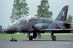 A BAE Hawk T1 of No. 151 Squadron which was based at RAF Civenor between 1981 and 1992.