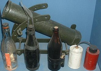 Molotov cocktail - British Home Guard improvised weapons in Imperial War Museum, London