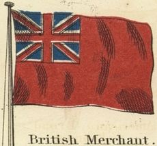 A red flag with the British Union Jack in the canton.