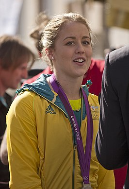 Brittany Broben being interviewed by Fox Sports News reporter Adam Curley at the Welcome Home parade in Sydney (1).jpg