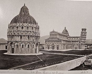 The Piazza del Duomo of Pisa with the Leaning Tower, photograph 1871 by Giacomo Brogi