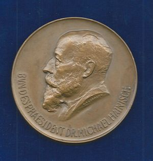 Michael Hainisch - Bronze medal of Michael Hainisch, President of Austria, 1920 (ND). Artist Grete Hartmann, née Chrobak, 1869–1946