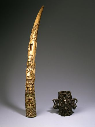 Benin court and ceremonial art - Side-blown Trumpet, from the collection of the Brooklyn Museum