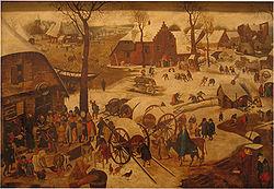 Een van de 13 nog bekende kopieën van De volkstelling te Bethlehem, oorspronkelijk door Pieter Brueghel de Oude (1566)
