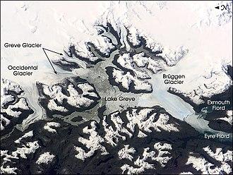 Brüggen Glacier - Brüggen Glacier and surrounding area, September 2001