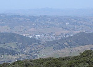 Buellton, as seen from near Gaviota Peak in the Santa Ynez Mountains