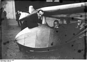 Alexander Lippisch - Alexander Lippisch, with Günther Grönhoff in the cockpit of the Storch V.