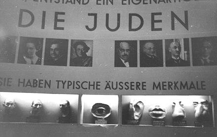 ユダヤ人の「典型的な」解剖学的特徴を示す博覧会Derewige Jude(「永遠のユダヤ人」)の断片