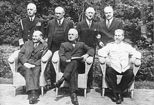James F. Byrnes - Sitting (from left): Clement Attlee, Harry S. Truman, Joseph Stalin; behind: William Daniel Leahy, Ernest Bevin, James F. Byrnes and Vyacheslav Molotov.