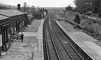 Burley-in-Wharfedale railway station - View SE, towards Guiseley and Leeds in 1961