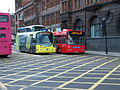 Buses in Newcastle upon Tyne 9 May 2009 Go North East Angel and Crusader with Stagecoach Quaylink and Arriva.jpg