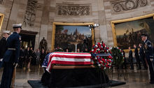 George H. W. Bush's remains are escorted at on December 3, 2018