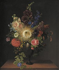 A Cactus Grandiflora and Other Flowers in a Porphyry Vase