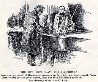 Carl Czerny - Czerny introduces his pupil Franz Liszt to Beethoven. Drawing by Rudolf Lipus.