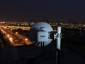 Extremely high frequency - CableFree MMW link installed in the UAE installed for Safe City applications, providing 1Gbit/s capacity between sites.  The links are fast to deploy, flexible and lower cost than fibre optics