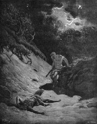 "Fratricide - ""Cain kills Abel"", a fratricide illustrated by Gustave Doré (And Cain talked with Abel his brother; and it came to pass, when they were in the field, that Cain rose up against Abel his brother and slew him)."