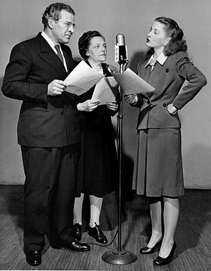 Joan Tompkins - Tompkins (right) as Susan Price Wells with Cameron Prud'homme and Charme Allen in the radio serial David Harum, 1947.