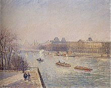 Impressionist painting of a steamboat and two other boats passing by the Louvre.