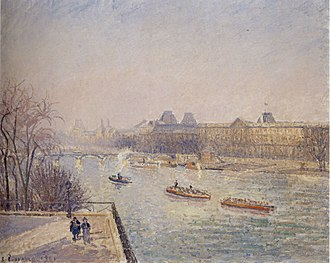 1901 in art - Image: Camille Pissarro (1830 1903) 'Morning, Winter Sunshine, Frost, the Pont Neuf, the Seine, the Louvre, Soleil D'hiver Gella Blanc', ca. 1901