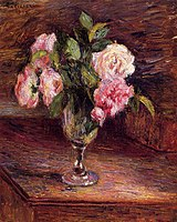 Camille Pissarro - Roses in a Glass (13374520584).jpg